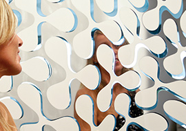 Hybrid Collection Mirrored Glass with Clover Pattern by Mac Stopa for Casali Wins <i> Interior Design</i> Best of Year Honoree Award 2015 in Combination of Dissimilar Materials Category